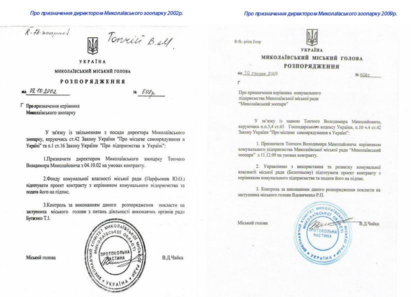 Про призначення директором Миколаївського зоопарку 2002 - 09р.